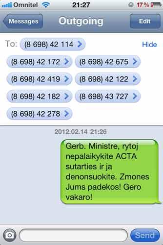 turi paskubėti išsiųsti SMS, kitaip bus krachas